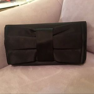 Lulu Townsend Black Satin Clutch with Large Bow
